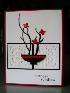 Bonsai Birthday Wishes by Ink-Creatable WOH - SU Ornament Punch; WMS Asian Gardens; Memory Box Woodland Branch die; MS Hydrangea punch