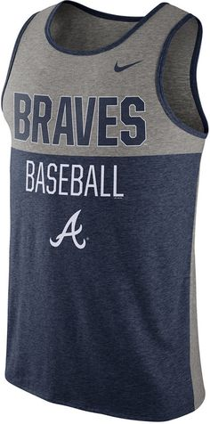 Don't let the heat wear you down by putting on this Nike MLB Tri tank top. This Atlanta Braves tank top will help you stay cool when the temperature rises. Crew neckline Sleeveless Screen print team graphics at front Screen print Nike swoosh logo at front Contrast colored collar and arm holes Loose fit Tagless Polyester/cotton/rayon Machine washable
