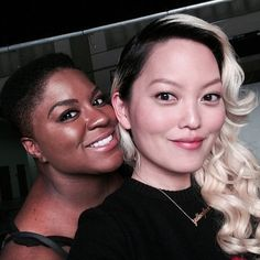 Pin for Later: 42 Times the Pitch Perfect Cast Brought Their Aca-Awesomeness to Instagram  Hana Mae Lee snapped a selfie with a smiley Ester Dean while shooting Pitch Perfect 2.
