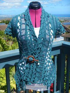Broomstick lace rebel cardi - via @Craftsy