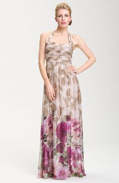 Ruched Bodice Floral Chiffon Gown - Lyst