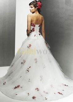 Ball Gown Strapless Floral Satin Tulle Pongee Wedding Dress - US$212.99 - Goldwo.com