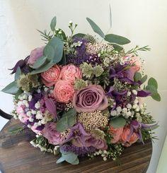 gorgeous bridal bouquet, mixed flowers and textures, mauve, purple, grey, coral, cream, white by Plantology Florist, Sheffield UK www.plantologyflorist.co.nz