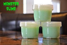 """My ooey gooey how-to for making Monster Slime!  Great for toddler/kid playtime or Halloween blindfolded fun """"What's this goo? Is it brain matter? Monster slobber?"""""""