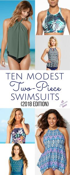 Bikinis and Tankinis that still offer coverage. Modest two-piece swimsuits! #swimsuit #bikini #modesty