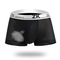 ZK Mens Honeycomb Mesh U-shaped Pouch Boxers Casual Breathable Antibacterial Plus Size Underwear-Underwear