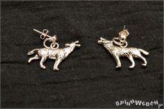 Wolf Earrings  Studs pendant jump rings silver by SpinnWeben, €6.00