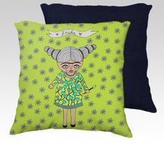 Pillow Case - Frida with Flowers - home decor - velveteen - 20 x 20 inches - green