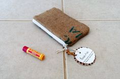 4 x 6 Burlap zipper pouch  repurposed coffee bean by LinaandVi