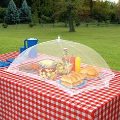 Outdoor mesh table covers are a genius way to keep bugs away from food, and inexpensive! They have lots of sizes.