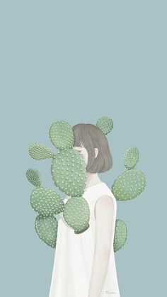 Beautiful Artwork by Korean illustrator / Artist Mi-Kyung Choi, a. Ensue // I love drawing lovely women and girls in pastel tones, so these awe-inspiring digital paintings by illustrator Ensee really captured my attention Art And Illustration, Cactus Illustration, Korean Illustration, Art Design, Art Girl, Art Inspo, Collages, Art Drawings, Anime Art