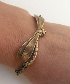 Steampunk Dragonfly Bracelet- Antique Brass. $18.00, via Etsy.