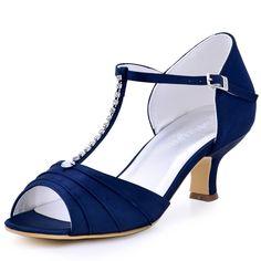 Shoes Woman Navy Blue Low Heel Rhinestone T-Strap Pumps Satin Bride Bridesmaid Prom Evening Shoes Women's Wedding Sandals EL-035