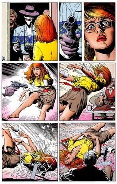 Joker shoots Barbara Gordon. The injury that paralyzed her, ended her career as Batgirl & paved the way to her becoming Oracle (from the graphic novel Batman: The Killing Joke by Alan Moore and Brian Bolland)