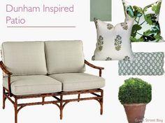 Porch inspiration:  Ballard aluminum rattan-look sofa in Sunbrella Spa, pillows in Peter Dunham Fig Leaf and indigo Udaipur & Rajmata - Green Street Blog