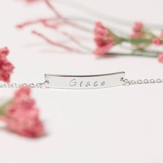 Name Bar Bracelet Hand Stamped Gold, Silver, Rose Gold Plated Custom Jewelry Birthday Valentine's day Christmas Bridesmaids Gift Customized - Wedding Jewelry Keep Jewelry, Jewelry Gifts, Personalized Jewelry, Custom Jewelry, Rose Gold Balayage, Valentines Day Weddings, Valentine's Day, Gold Plated Bracelets, Name Bracelet