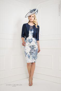 John Charles Fresh Dress With Long Sleeve And Jacket Ivor & Navy