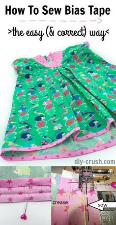 Sewing Techniques Couture How to sew bias tape the easy ( Sewing Hacks, Sewing Tutorials, Sewing Crafts, Sewing Tips, Tutorial Sewing, Sewing Ideas, Dress Tutorials, Sewing Basics, Zipper Tutorial