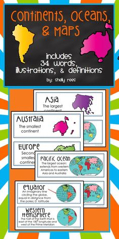 Continents, Oceans, and Maps Word Wall Cards!  32 colorful cards with words, definitions, and illustrations to help reinforce map concepts!  Perfect for my classroom!!