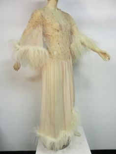 gorgeous blush pink 1920's Silk Lace and Chiffon Negligee w/ Ostrich Feather Trim
