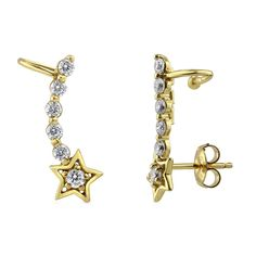 These star cuff earrings' delicate design sparkles and shines. Made of yellow gold plated fine 925 sterling silver. Set with 0.38 carat round cut cubic zirconia in 5-prong and prong setting. Earrings measure 0.75 inch in length, 0.25 inch in width. Posts with butterfly backs. Nickel free.