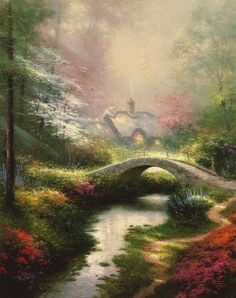 Brookside Hideaway Thomas Kinkade art for sale at Toperfect gallery. Buy the Brookside Hideaway Thomas Kinkade oil painting in Factory Price. All Paintings are Satisfaction Guaranteed Thomas Kinkade Puzzles, Thomas Kinkade Art, Kinkade Paintings, Oil Paintings, Thomas Kincaid, Albrecht Dürer, Art Thomas, West Art, Fashion Painting