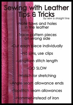 Leather Lessons Sew a Straight Line-8 tips