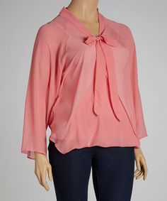 Take a look at this Rose Tie-Neck Chiffon Top - Plus by Clothing Showroom on #zulily today!