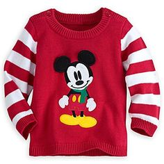"""Product review for Disney Mickey Mouse Holiday Sweater for Baby.  Peppermint prince! Joy to your world this holiday season as your little one dons our adorable sweater. Mickey Mouse takes center stage while candy cane striped sleeves give this cotton sweater that spirited flare.       Famous Words of Inspiration...""""Disappointments are to..."""