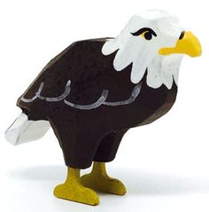 """A hand-carved Bald Eagle, 1-3/8"""" tall. Wood-turned, hand-carved, hand-painted. From Christian Werner's Size Small Noah's Ark - buy One (1 x1) or the Pair (2 x 2). Enjoy the classic folk art of ring-turning - Reifendrehen - since the 1800s 