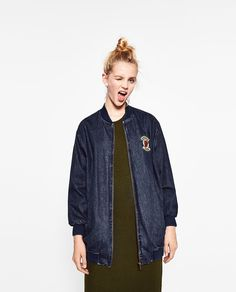 ZARA - TRF - LONG PATCH BOMBER JACKET