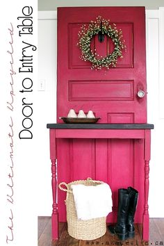 old door diy modern country entry table, doors, painted furniture. I'd like to add an electric heater & redress like a fire place. Recycled Furniture, Vintage Furniture, Painted Furniture, Diy Furniture, Old Door Projects, Diy Projects, Old Door Tables, Old Wooden Ladders, Old Wood Doors