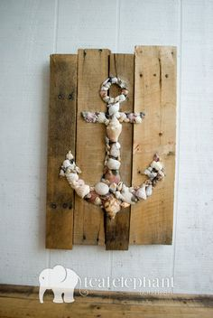 Perfect for the Cottage-Pallet Art Natural Shell Anchor Wall Hanging - Rustic Shabby Chic Sharksteeth Nautical Seashore