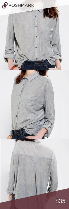 BDG | Sebastian Gray Buttondown Shirt Lightweight button down in excellent condition! Relaxed fit. Button closure at the cuffs. Urban Outfitters Exclusive. Urban Outfitters Tops Button Down Shirts