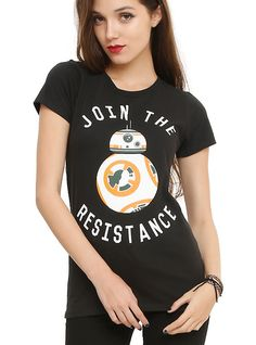 womens med-Star Wars: The Force Awakens BB-8 Join The Resistance Girls T-Shirt, BLACK