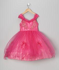 Look at this #zulilyfind! Fuchsia Bead Flounce Dress - Girls #zulilyfinds