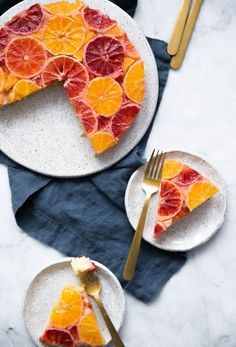 An easy upside down winter citrus cake that will brighten your day!