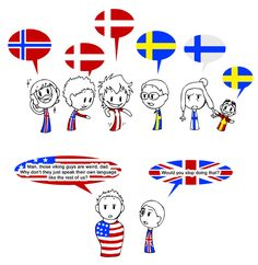 Scandinavia and the World - What did you say? A language lesson (Iceland / Norway / Denmark / Sweden / Finnland / Fenno Swedes / USA / England)    See the original for explanations.