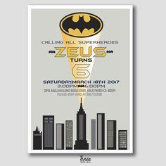 Batman Birthday Invitation. Batman Invite. Batman Party. Kids Batman Themed Party Invite. DIY Batman Invite. Superhero Invitation. Batman by U4riaDesignLLC on Etsy