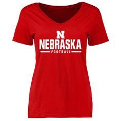 Nebraska Cornhuskers Women's Red Custom Sport V-Neck T-Shirt