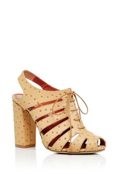 Embellished Calf Leather Mavis Lace Up Heels by CHARLOTTE OLYMPIA Now Available on Moda Operandi