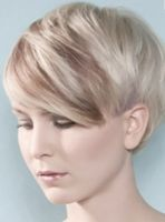 Women very short hairstyle with long bangs with highlights ice blond and light brown.PNG