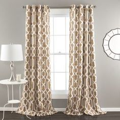Trellis Grommet Curtain Panel in Taupe (Set of 2)