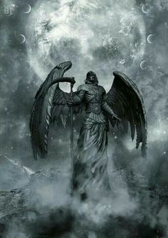 The reaper is an angel. Grim Reaper Art, Ange Demon, Demon Art, Dark Fantasy Art, Dark Art, Reaper Tattoo, Arte Obscura, Angels And Demons, Santa Muerte