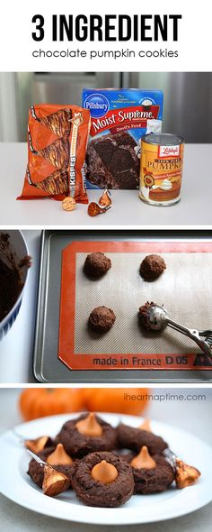 3 ingredient chocolate pumpkin cookies on  ...so easy and yummy!   #easy #cookie #recipes