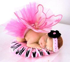 Tutu Fiary Wings Baby Cake Topper Baby Shower 1st Birthday Princess Pink Tulle- Larger baby