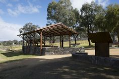 Shelter Design by Steve Gorrell for Cowra Council. Part of a collaborative project with the Interpretive Design Company for interpretive signage at Cowra POW Camp. Shelter Design, Signage, Pergola, Camping, Outdoor Structures, Explore, Projects, Campsite, Outdoor Pergola