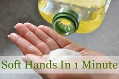 Just pour a small amount of sugar into your hand and an equal amount of olive oil and scrub. Wash your hands then apply lotion.
