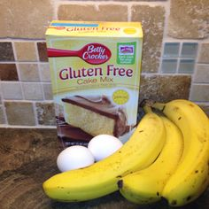 Gluten free Easy Banana Bread. Use 1 large loaf or 2 small loaf pans. What you'll need... Yellow cake mix. 2 eggs. 3 over ripe bananas. 1/2-1 cup chocolate chips. ( I used 1/4 c white and 1/4 c chocolate chips ) I also added 1/2 c pecans. Spray pan with nonstick cooking spray & lightly flour (gluten free)  Bake at 350 degrees for 35-40 minutes.