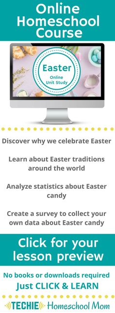 Try the Easter Online Unit Study. This online homeschool course integrates multiple subjects for multiple ages of students. Access websites and videos and complete digital projects. With Online Unit Studies' easy-to-use E-course format, no additional books or downloads are needed. Just gather supplies for hands-on projects and register for online tools. Click for your free lesson.